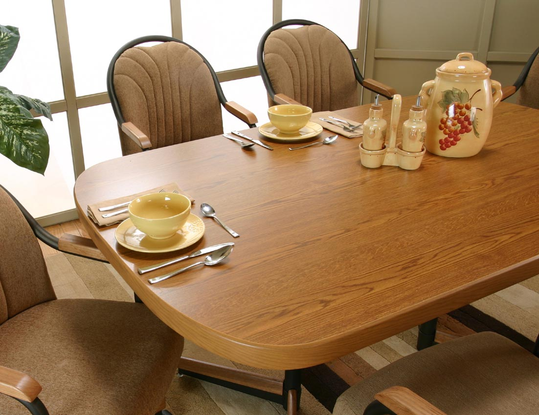 Caster rolling swivel dining table set laminate top