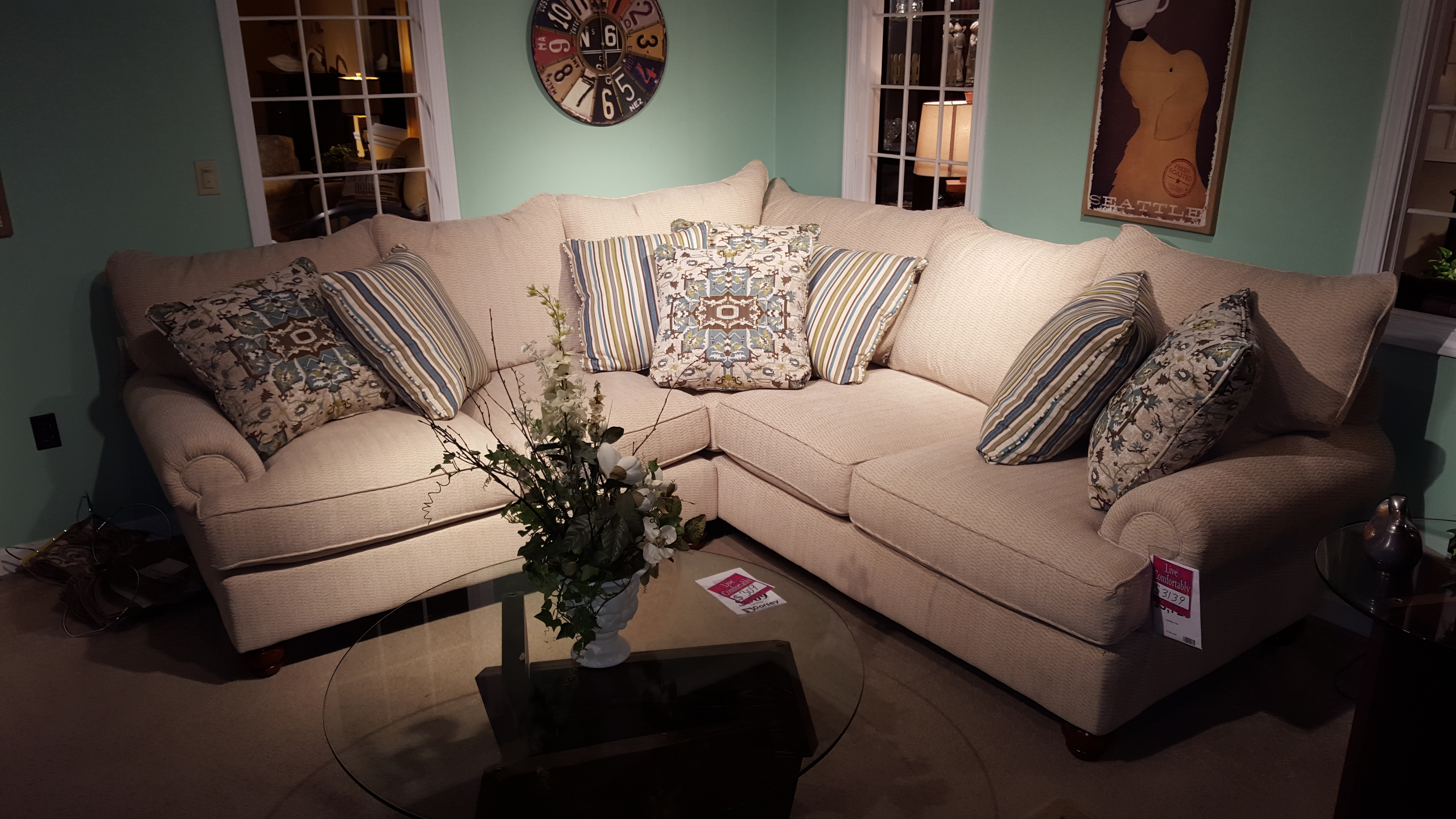 Craftmaster Large Sectional Upholstery Livingroom Deep Seat