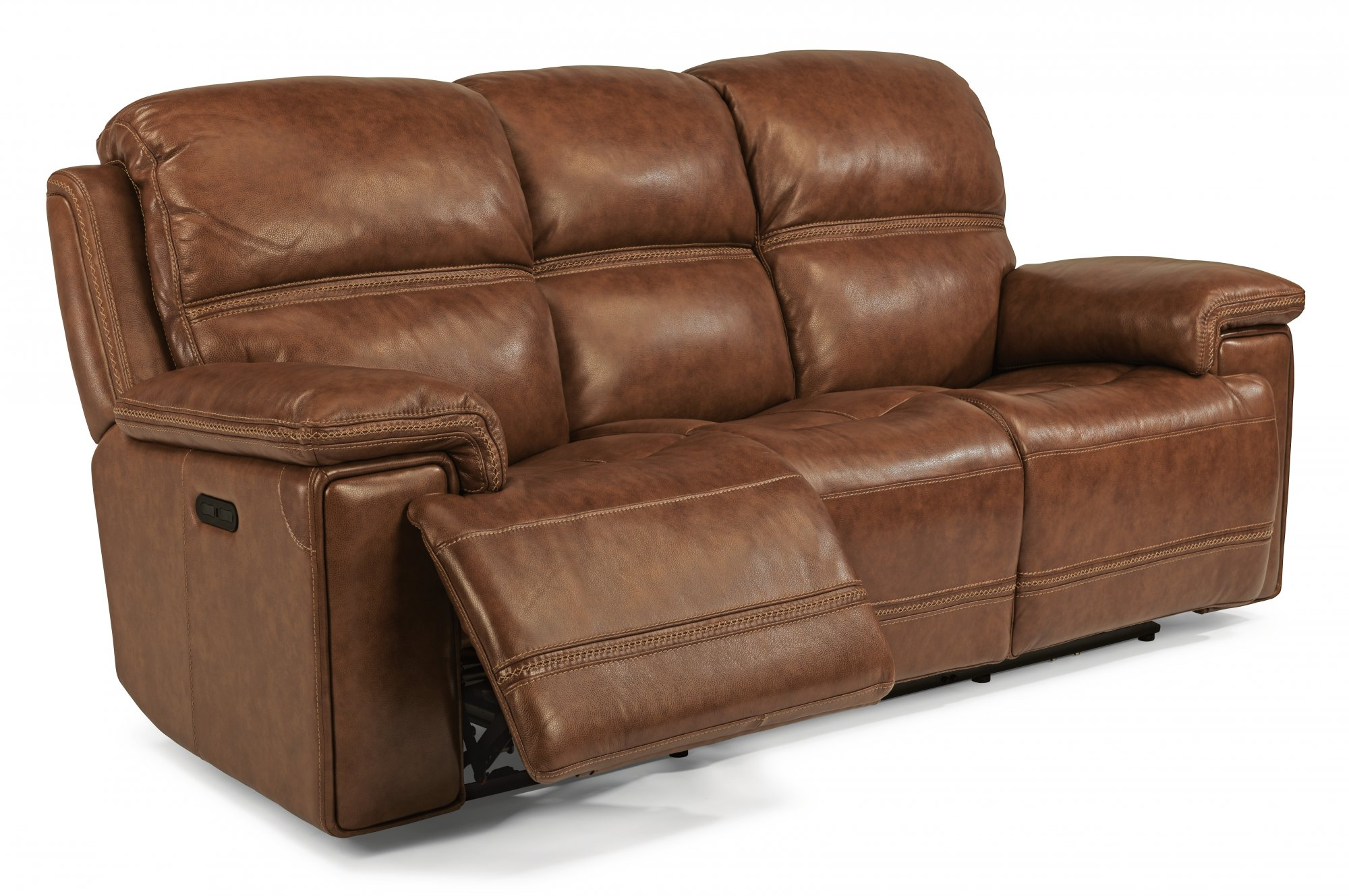Flexsteel Fenwick Leather Power Reclining Sofa W Headrests ~ Power Reclining Leather Sofa